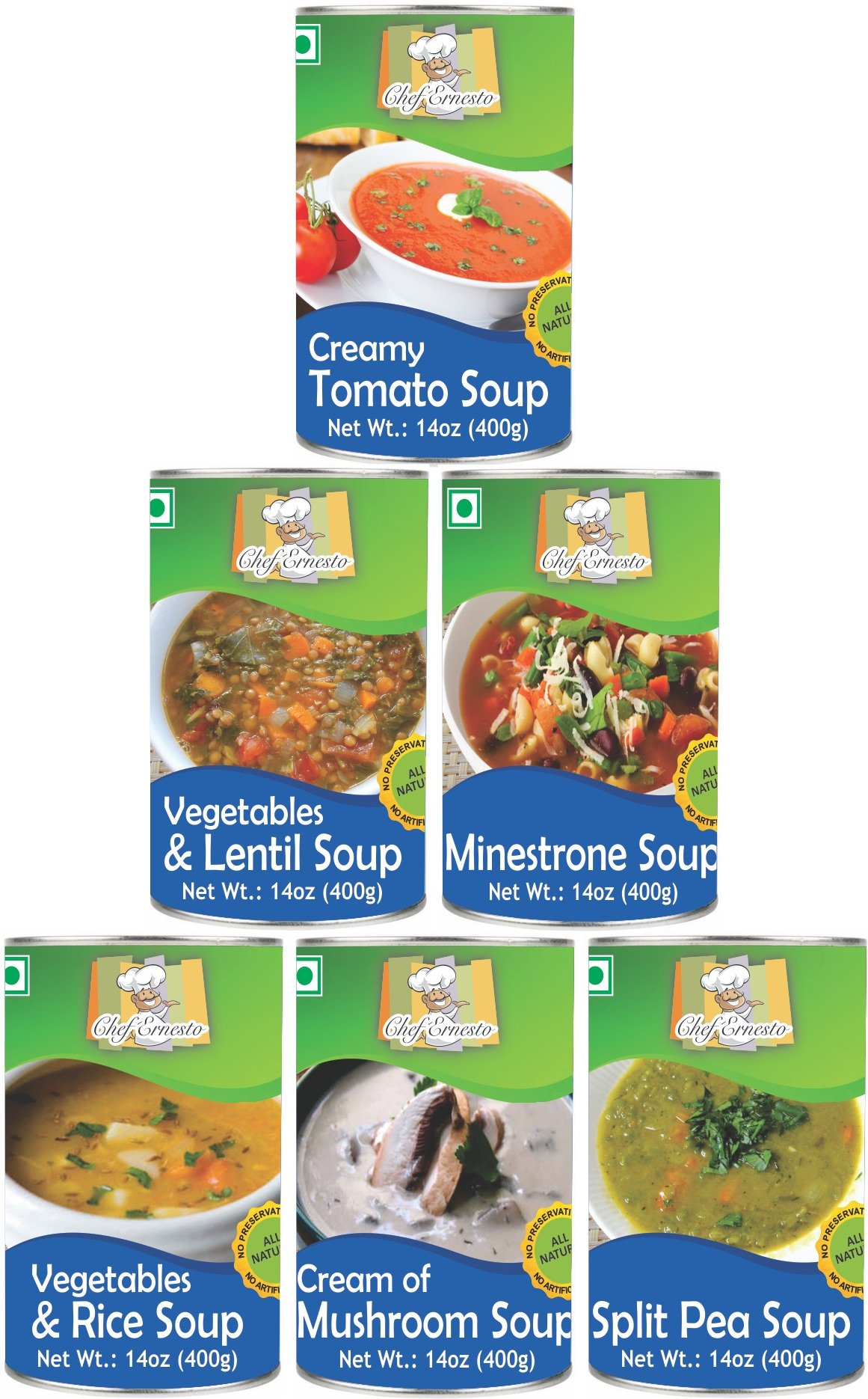 HIMALYA FRESH Can Soups Variety pack (1 Can Creamy Tomato Soup, Cream of Mushrooms, Vegetable and Lentils, Minestrone, and 2 Cans Split Pea) Option To Pick Any Six Cans Available