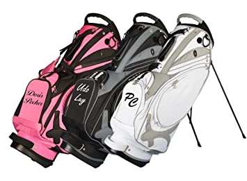 Kellermann Golf Muirfield Stand Bag custom embroidered with name/initials  in pink/black