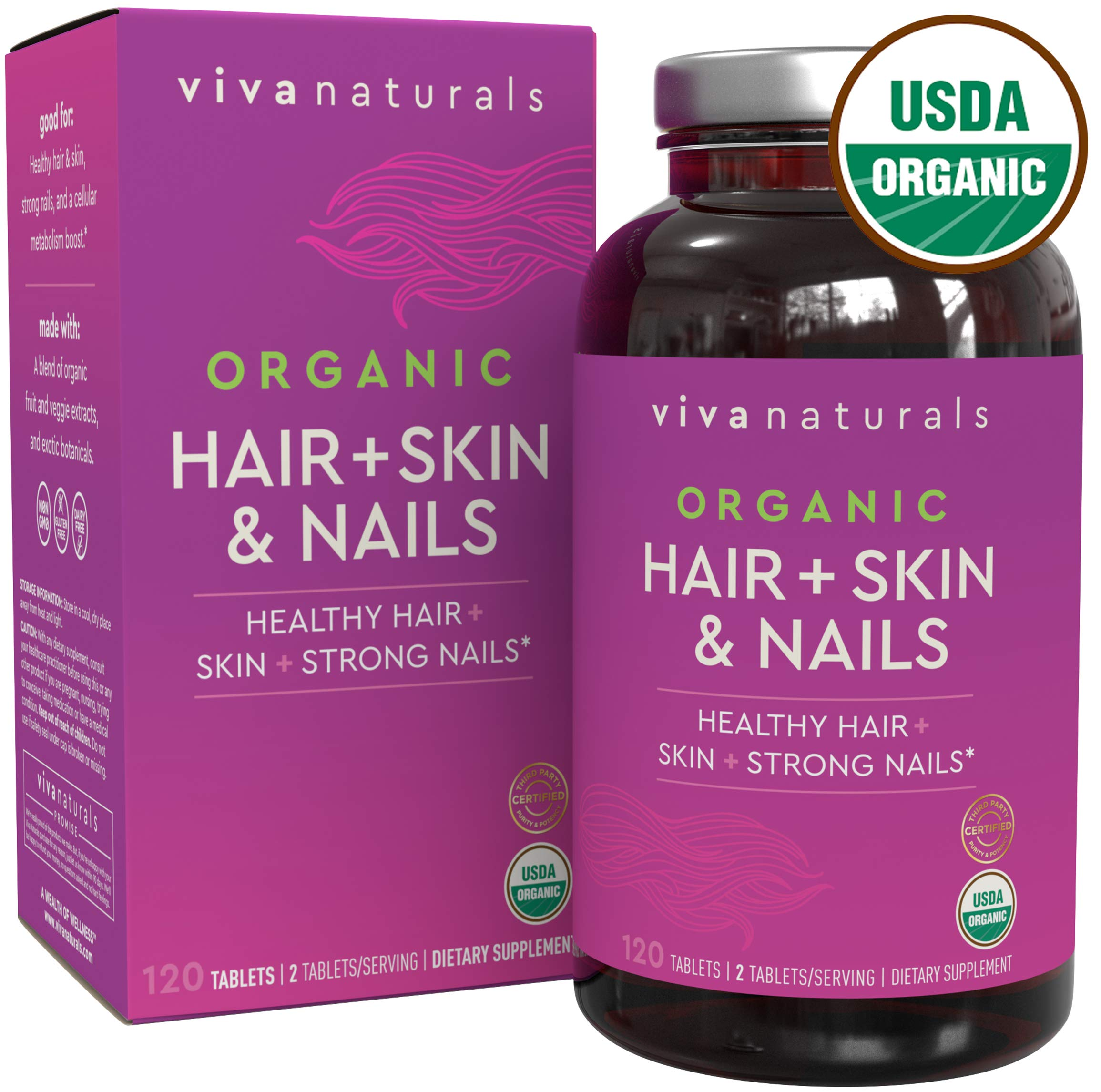 Hair Skin and Nails Vitamins for Women with High-Dose Biotin, Certified Organic; Hair Vitamins, Skin Vitamins, and Nail Growth, 120 Tablets. by Viva Naturals