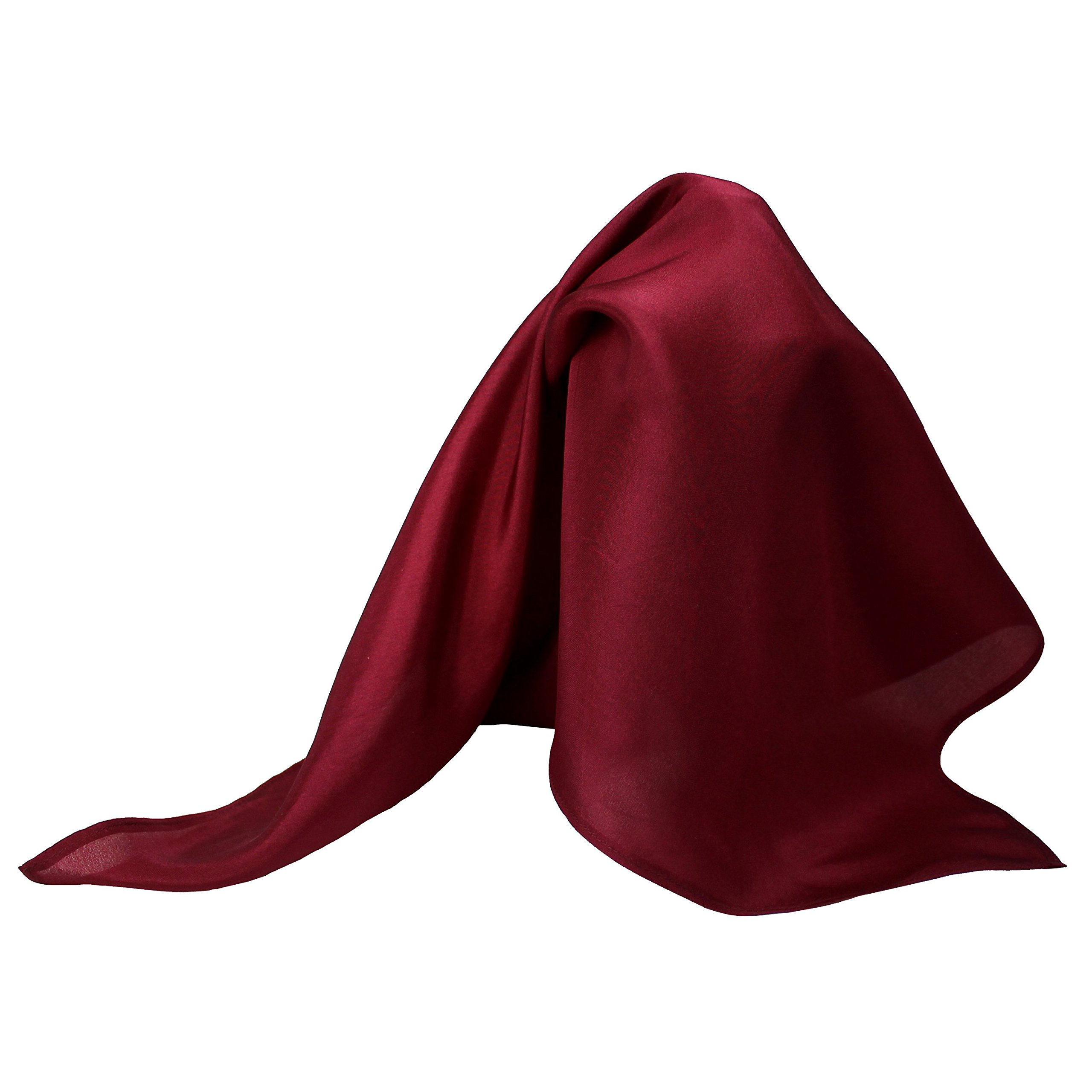 Classic Burgundy Silk Handkerchief - Full-Sized 16''x16'' …