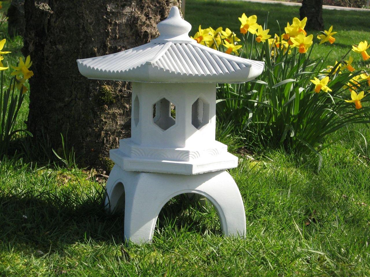 Cement PAGODA Lantern 16''H, 3-piece GRAY CONCRETE Outdoor Garden Statue