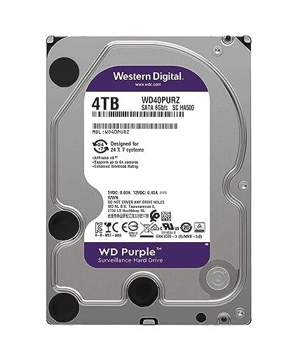 WD Purple 4TB Surveillance Hard Drive - 5400 RPM Class, SATA 6 Gb/s, 64 MB  Cache, 3 5