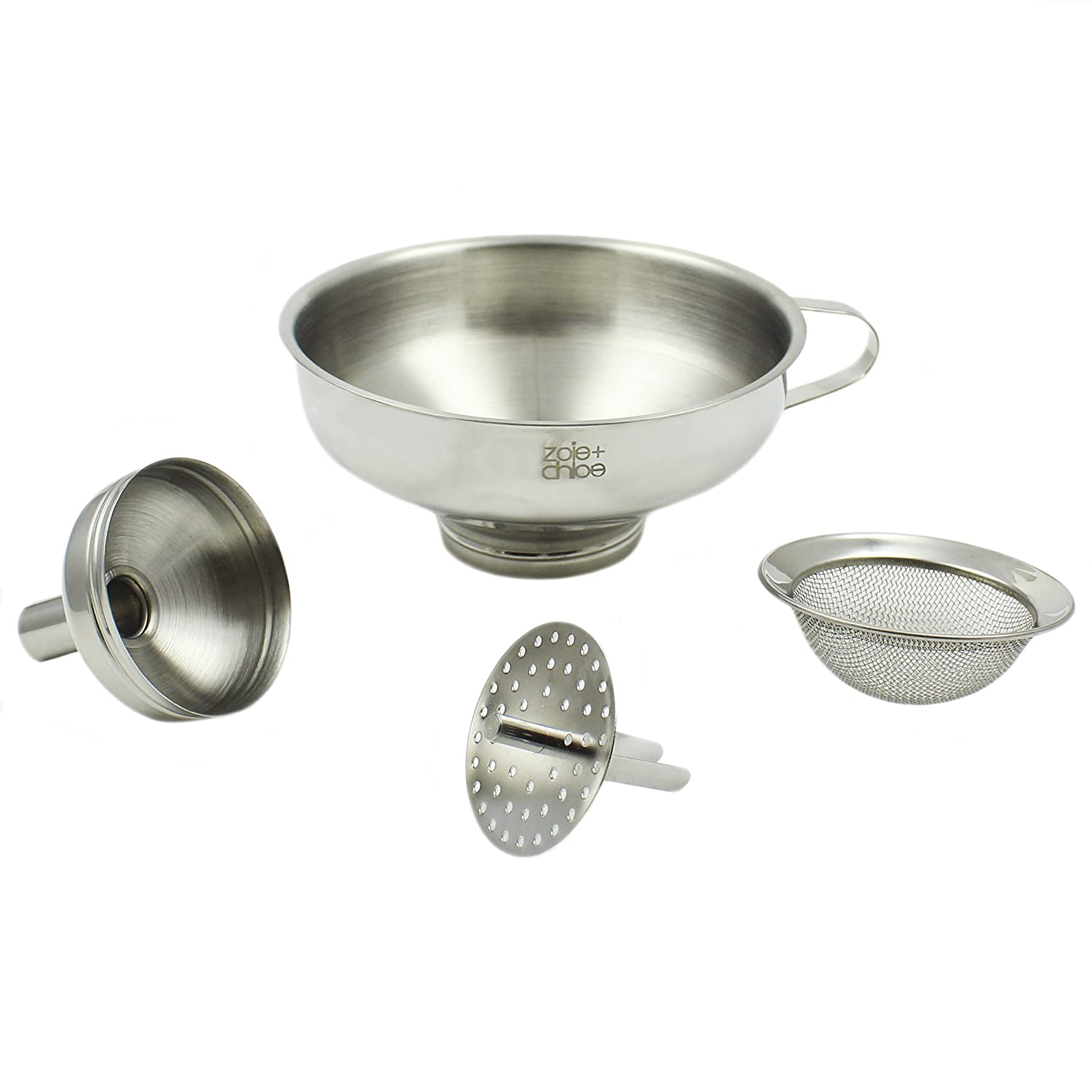 Zoie + Chloe 3-in-1 Stainless Steel Funnel Set - Wide Mouth with Mesh Basket - Narrow Mouth with Strainer