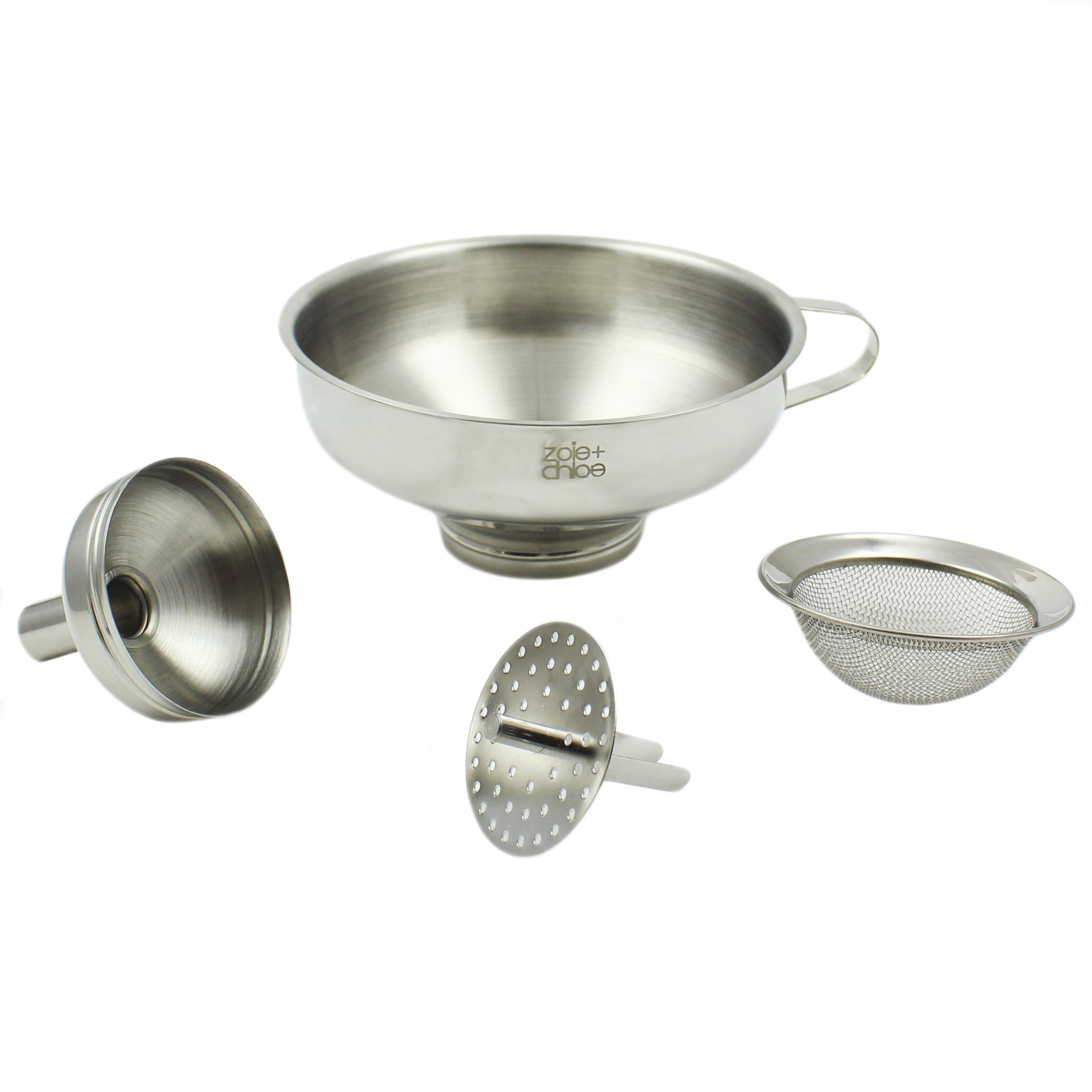 Zoie + Chloe 3-in-1 Stainless Steel Funnel Set - Wide Mouth with Mesh Basket - Narrow Mouth with Strainer by Zoie + Chloe
