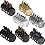 35 Pieces 7 Colors Pendant Trays Round Bezel, 35 Pieces Glass Cabochon Round Clear Dome-25 mm/1 inch Diameter (Colorful)