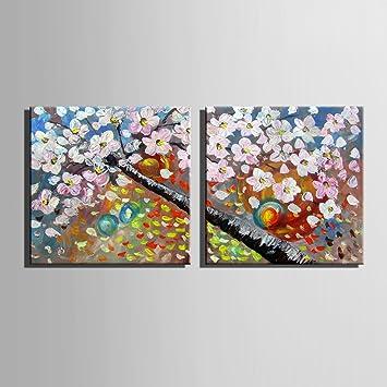 Kirschblüten 100% handbemalt Home Decor Peinture à l\'huile Wall Art ...