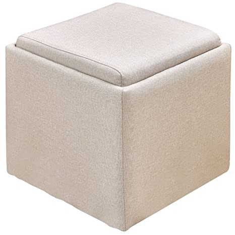Giantex Linen Storage Ottoman Box Square Foot Rest Stool Wood Seat, Beige