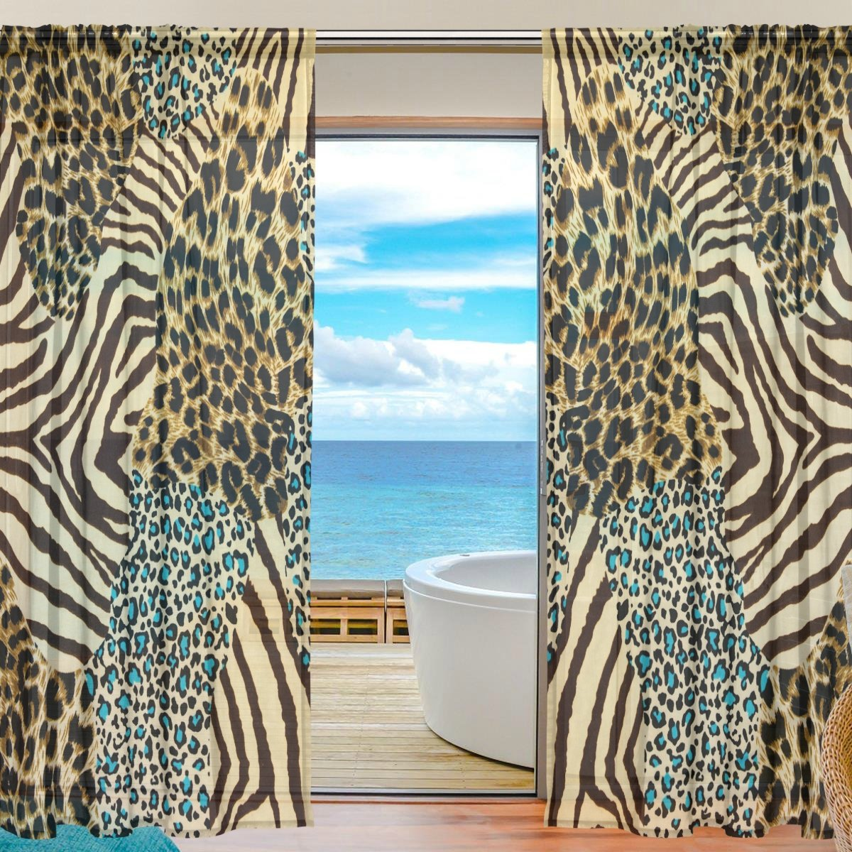 SEULIFE Window Sheer Curtain Zebra Tiger Animal Print Voile Curtain Drapes for Door Kitchen Living Room Bedroom 55x78 inches 2 Panels by SEULIFE (Image #1)