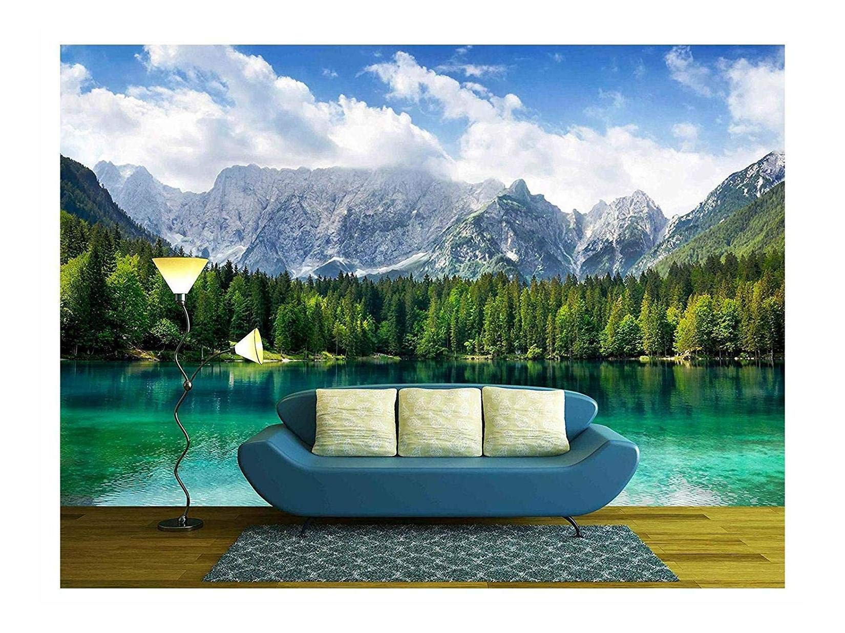 wall26 - Beautiful Landscape with Turquoise Lake, Forest and Mountains - Removable Wall Mural | Self-Adhesive Large Wallpaper - 100x144 inches by wall26 (Image #1)