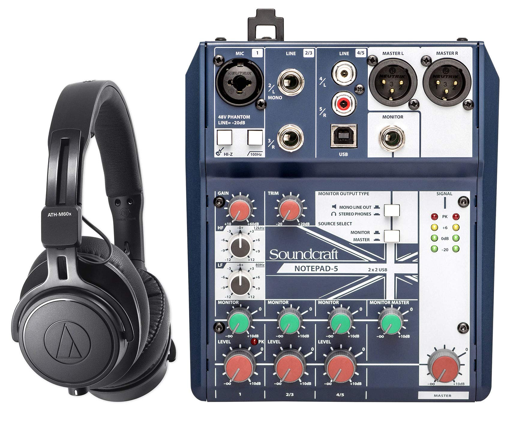 Audio Technica ATH-M60X Studio Headphones+Soundcraft Mixer w/USB Interface