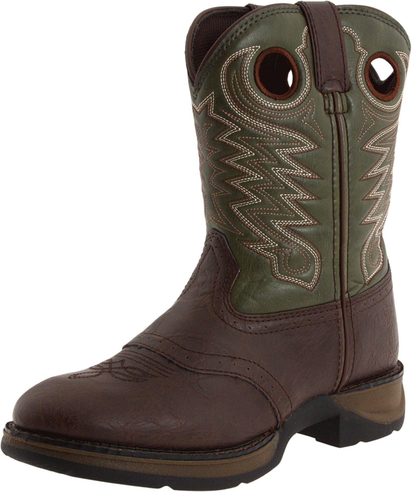 Durango Kids BT206 Lil' 8 Inch Saddle,Dark Brown/Forest Green,9 M US Toddler