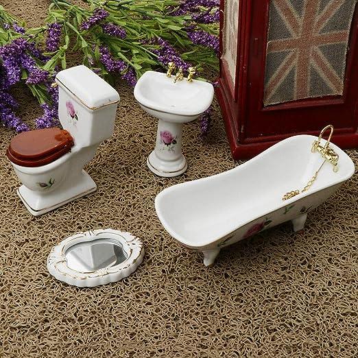 1//6 Plastic Bathroom Bathtub Set for  Dollhouse Miniature Accs