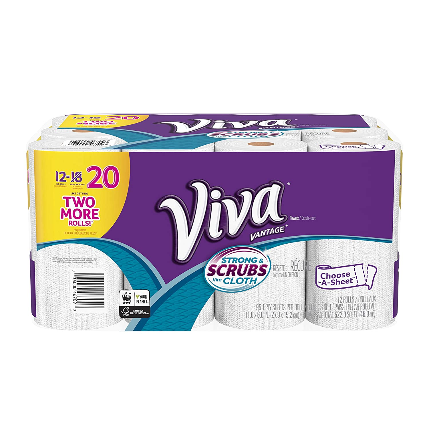 VIVA Vantage Choose-A-Sheet* Paper Towels, White, Big Roll, 2 Rolls Kimberly Clark
