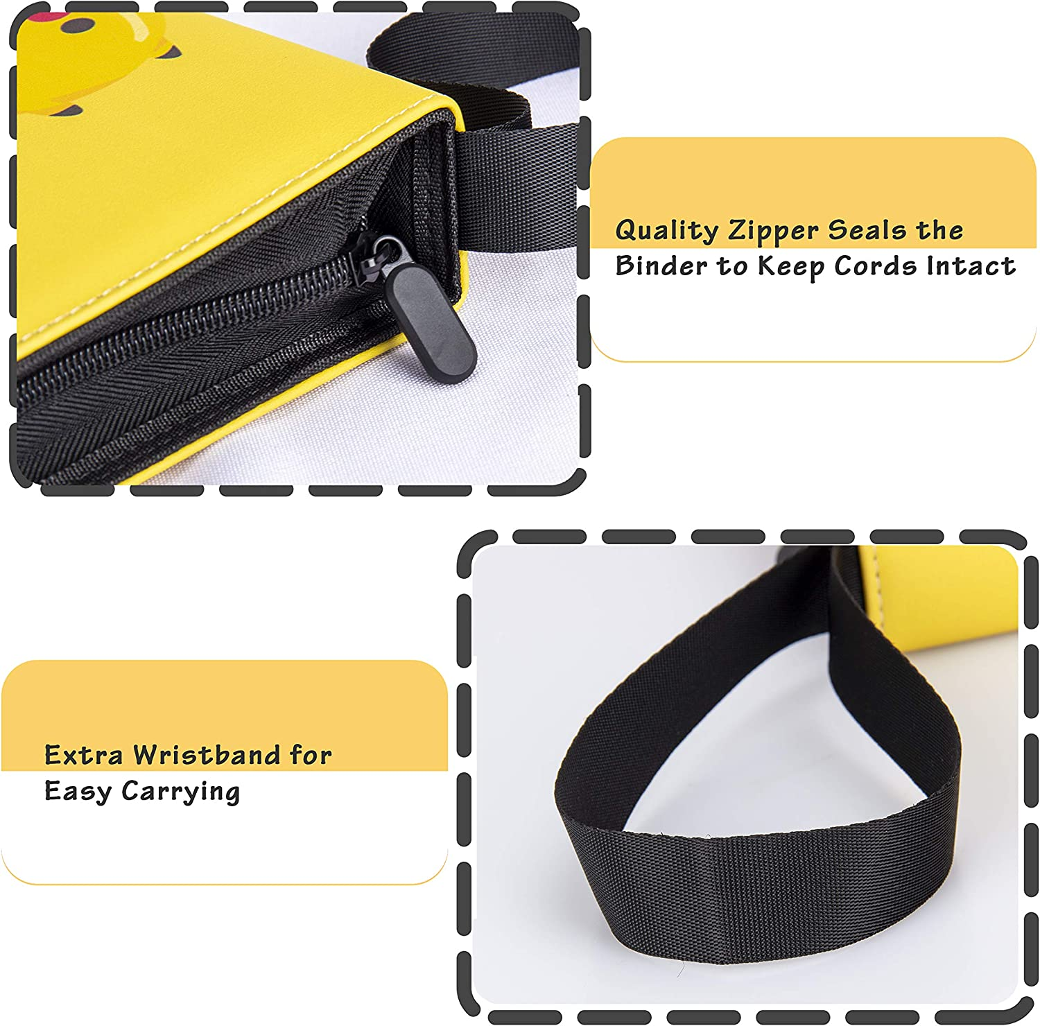 Yellow Geecow 4-Pocket Binder Compatible with Pokemon Cards Portable Storage Case with Removable Sheets Holds Up to 400 Cards-Toys Gifts for 3-8 Year Old Boys Girls