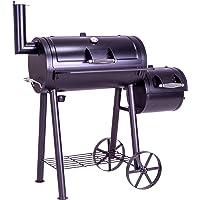 Nexos BBQ Grill Smoker Grillwagen Holzkohlegrill 2 Kammern Barbecue Transporträder Temperaturanzeige Stahlblech Lüftungsklappen Ablageflächen Verschiedene Modelle wählbar