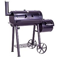 Smoker schwarz groß Räuchergrill Garten ✔ Rollen ✔ Deckel ✔ rund ✔ rollbar ✔ stehend grillen ✔ Grillen mit Holzkohle ✔ mit Station ✔ mit Rädern