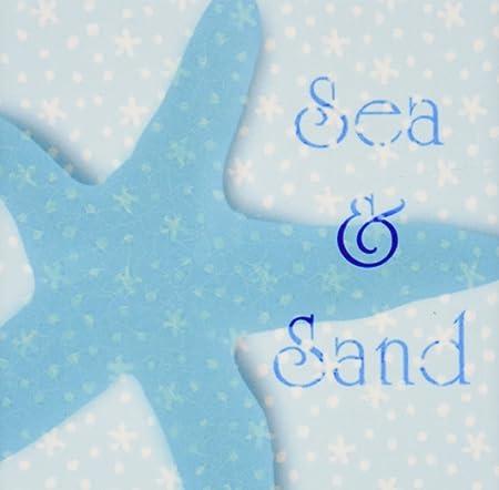 DRose Ct Aqua Sea And Sand StarfishBeach Themed Ocean Art - Beach themed ceramic tile