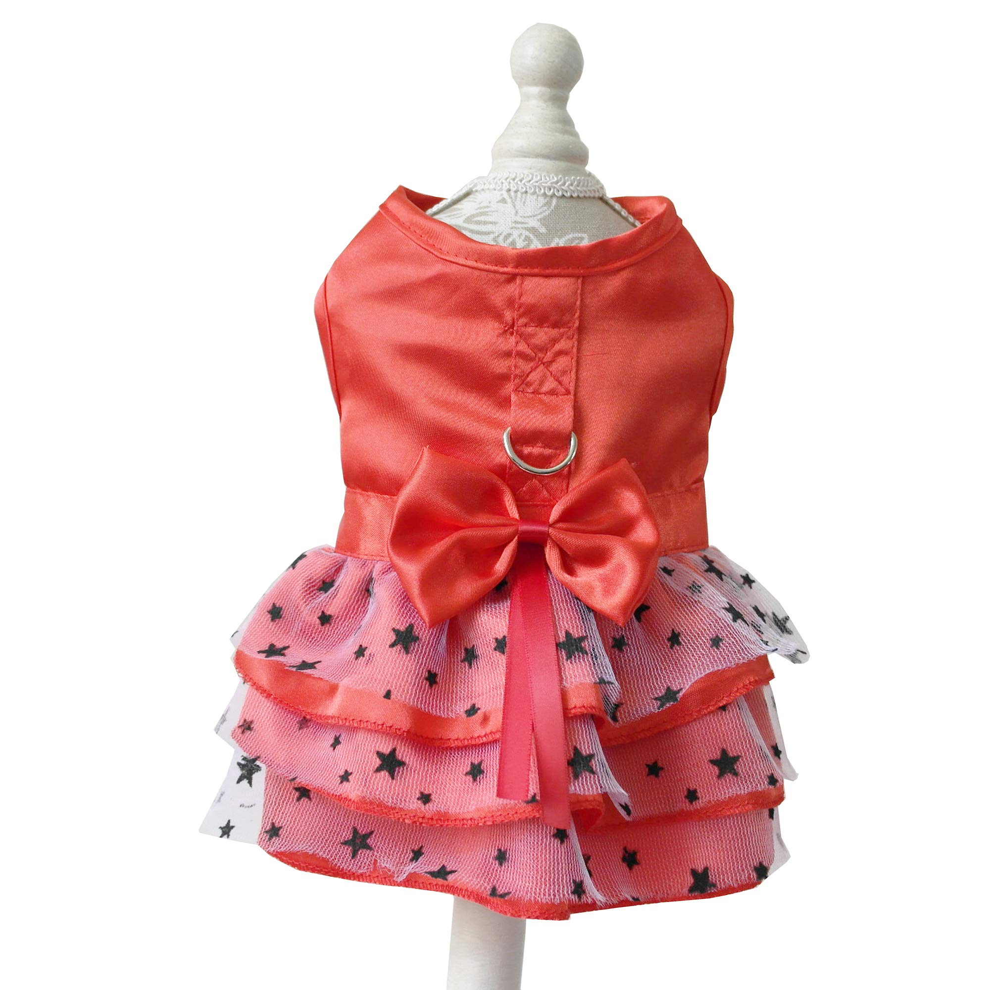 petalk Dog Dresses Harness D-Ring Butterfly Bow Starry Tulle Dog Cat Skirt Princess (M, Red)