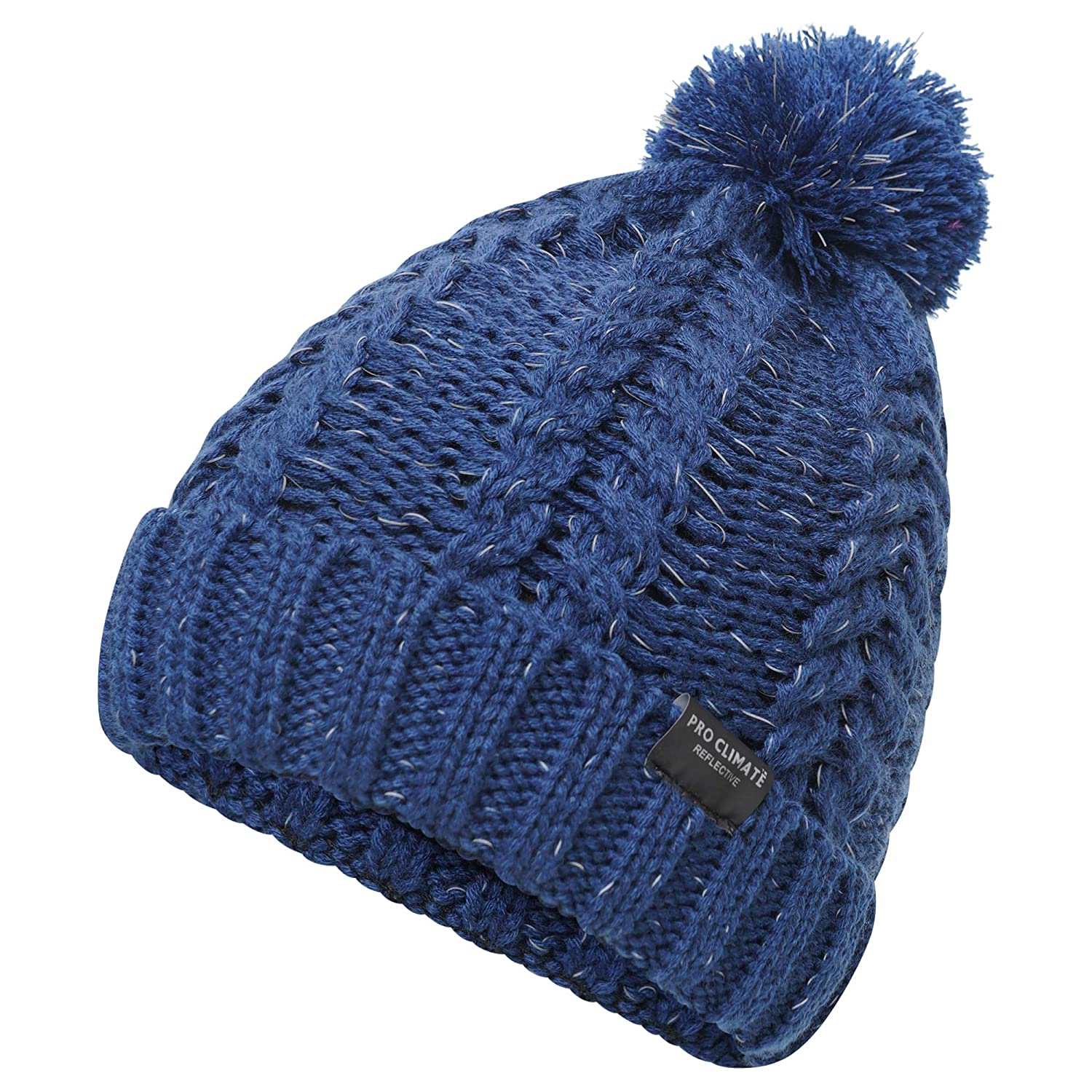 9bec61083 Pro Climate Mens Reflective Cable Twist Knitted Beanie Hat