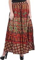 Exotic India Sanganeri Long Skirt with Printed Elephants and Peacocks