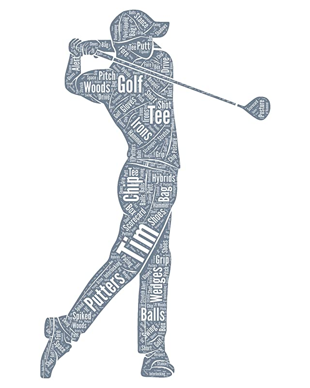 Personalized Golf Decor, Golf wall art, Golfing gifts for him, Birthday Gifts, Word Art Typography Golf lover Golfing Men Custom Print for Wall Decor…