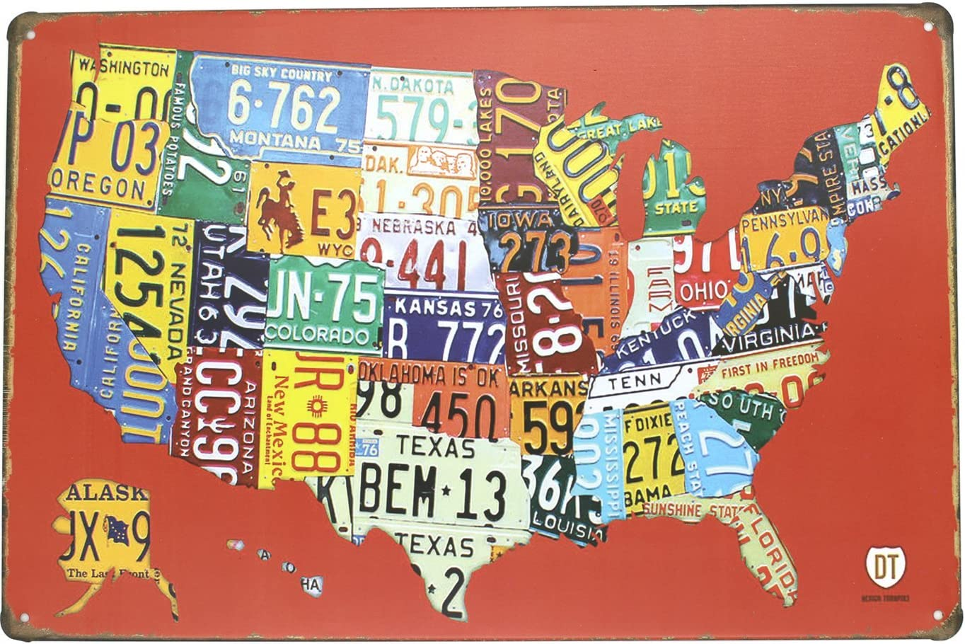 ARTCLUB Red USA Map Road 66 License Plate Metal Tin Sign, Vintage Plaque Poster Garage Bar Home Wall Decor
