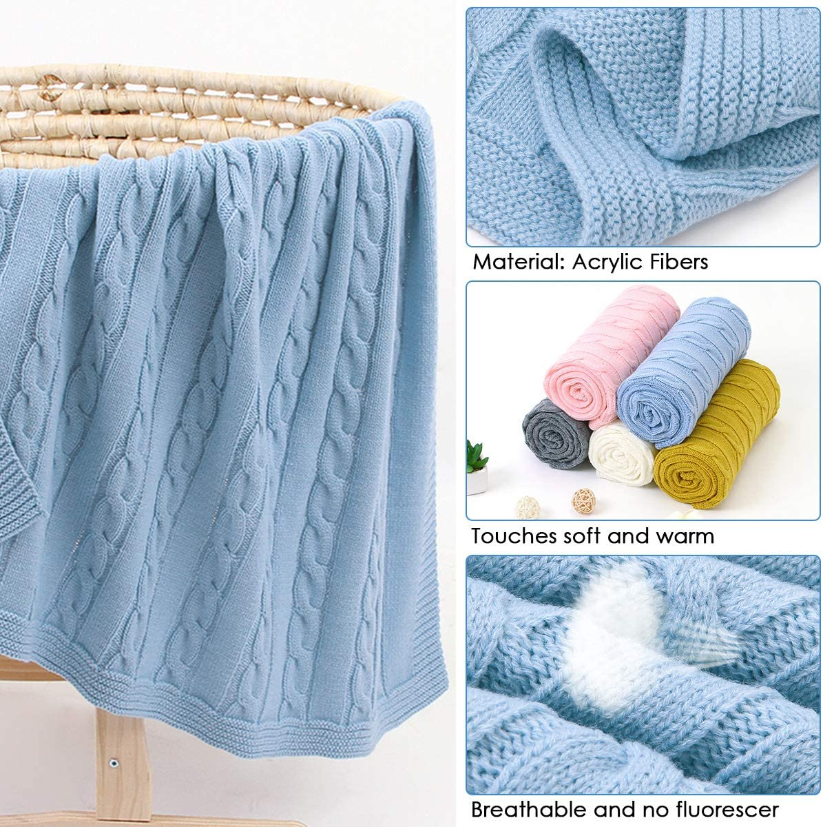 Stroller Baby Blanket Unisex Knit Newborn Toddler Blankets for Boys Girls Infant Receiving Blanket for Crib 100 * 80cm