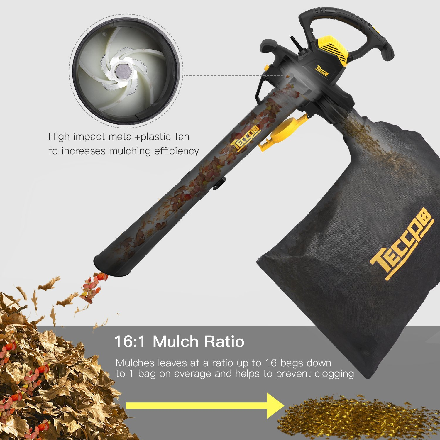 Leaf Blower Vacuum, TECCPO TABV01G 12-Amp 250MPH 410CFM 3 in 1 corded electric Two-Speed Sweeper/Vac/Mulcher, Plastic Impeller Metal Blade, Ideal for Lawn and Garden by TECCPO (Image #4)