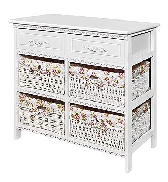 commode meuble salle de bain placard de 70 cm de largeur en blanc avec deux tiroirs