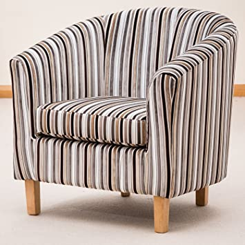 Sofa Collection Brand New Amboise Striped Tub Chair/Armchair Seating,  Fabric, Brown, 70 X 76 X 73 Cm: Amazon.co.uk: Kitchen U0026 Home