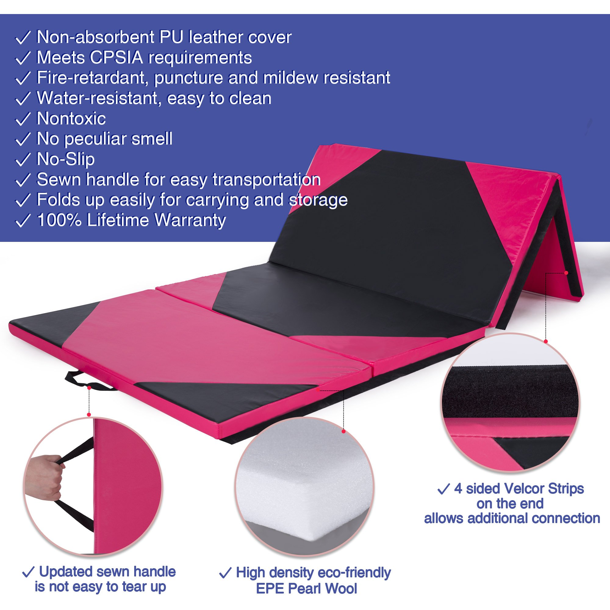 Sportmad 4'x10'x2 Thick Folding Panel Gymnastics Tumbling Mat Gym, Fitness, Exercise (Black/Pink) by Sportmad (Image #3)