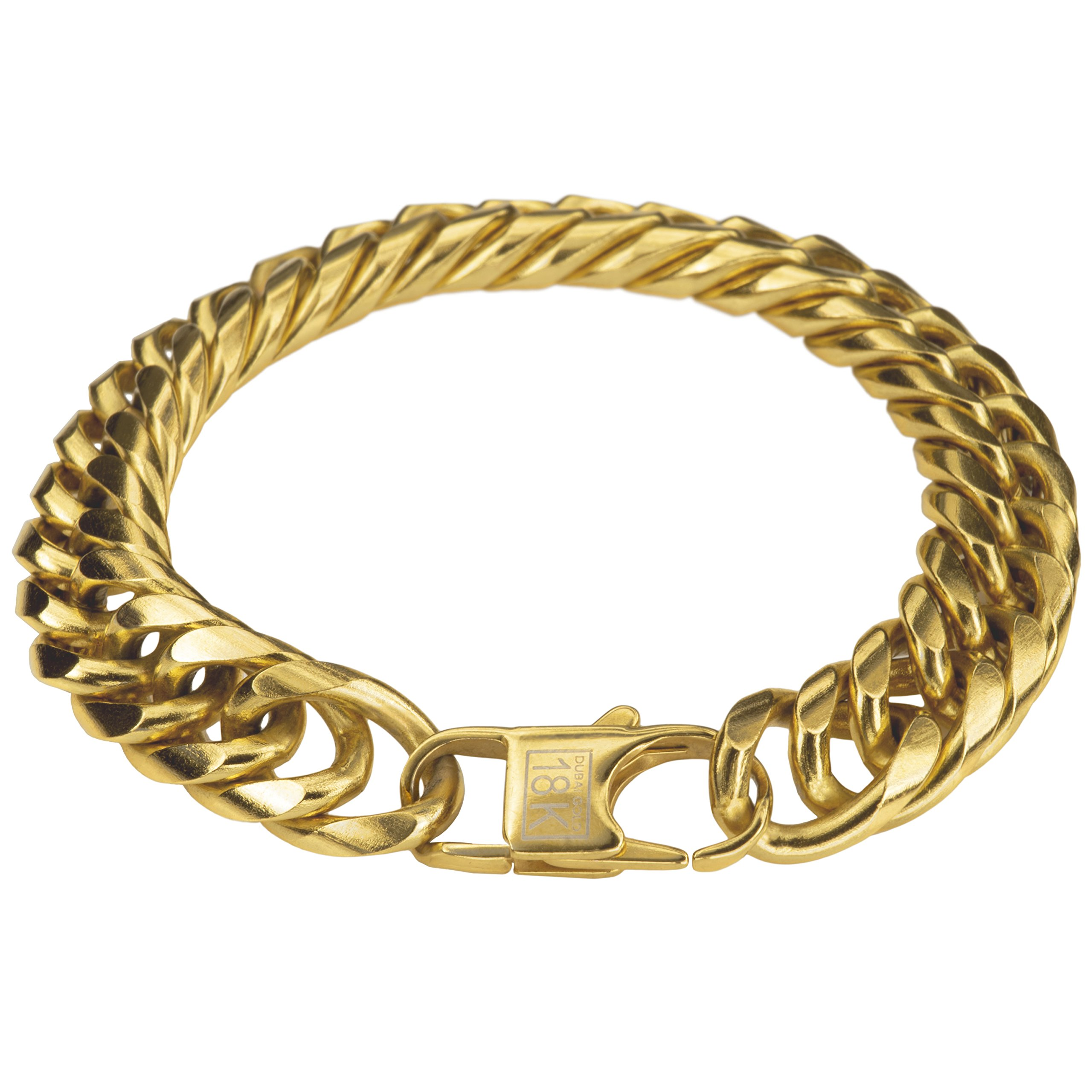 Thick 18k Gold Bracelet Cuban Link Chain For Men + Leatherette Gift Bag