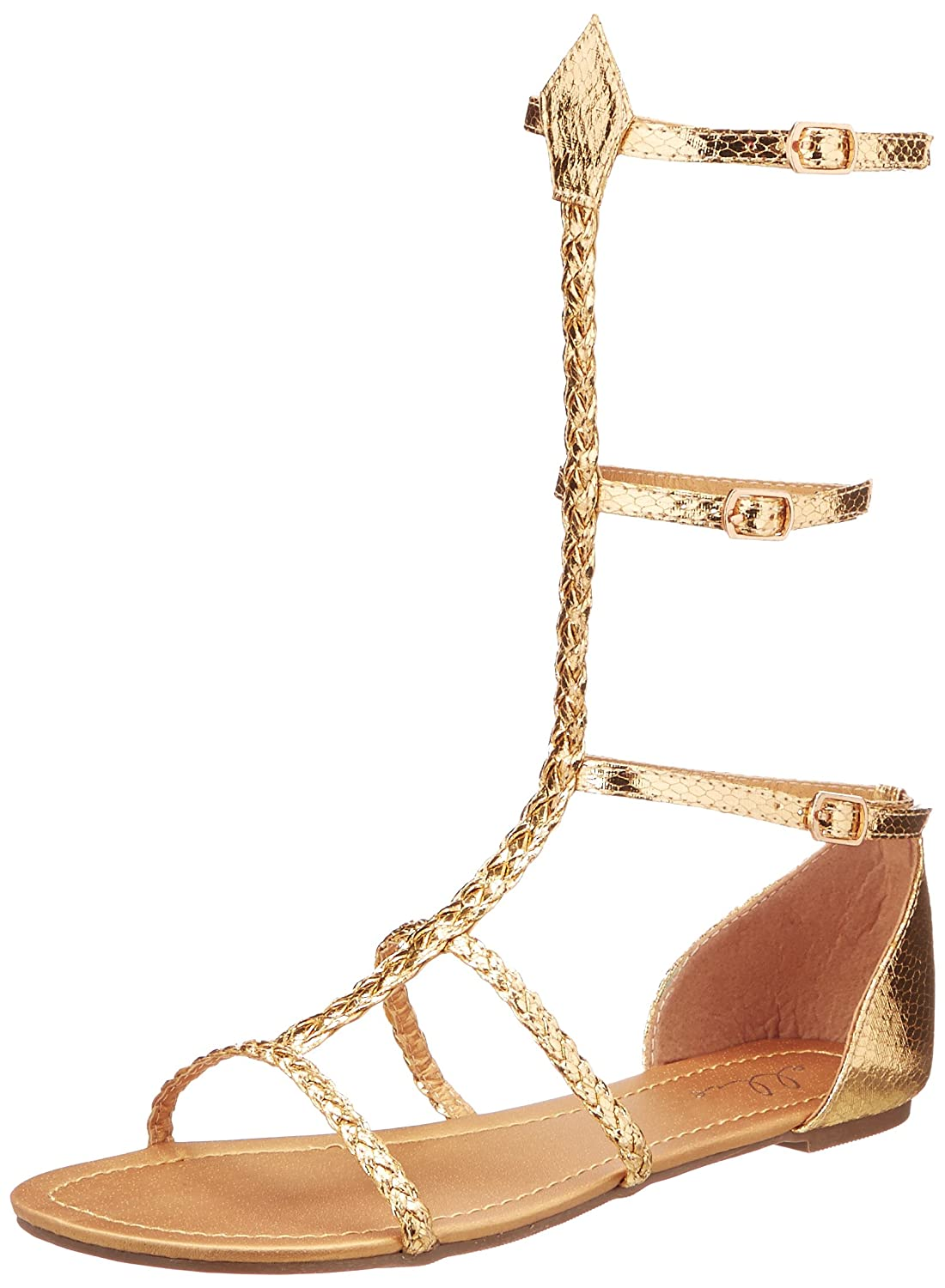 Women's Gold Gladiator Mid-Calf Flat Sandal by Ellie Shoes