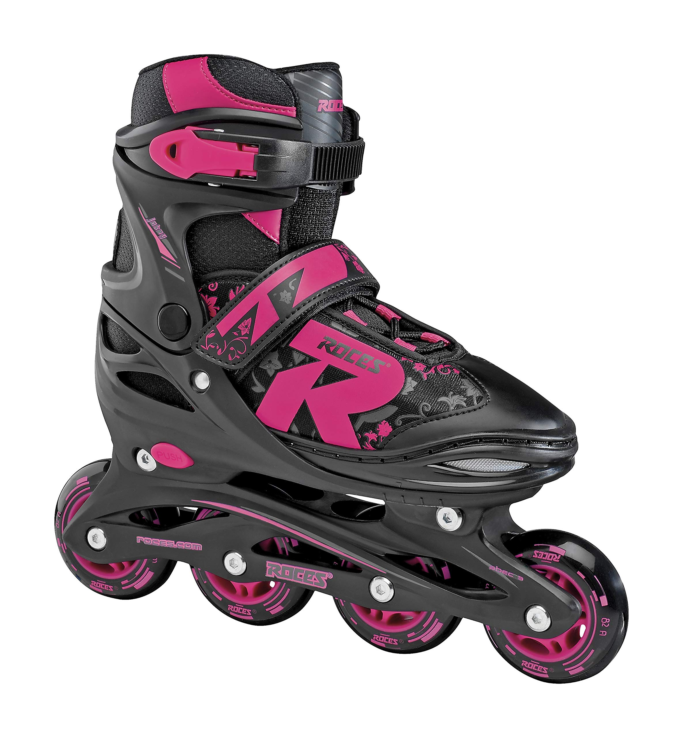 Roces 400811 Women's Model Jokey 1.0 Adjustable Inline Skate, US 5-8, Black/Pink