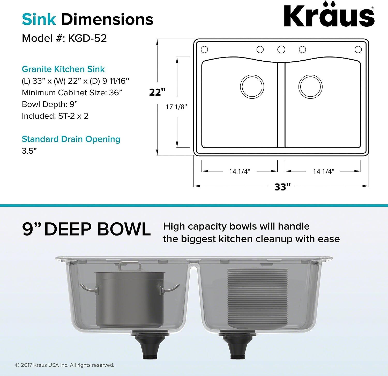 33 Inch Black Kraus KGD-52BLACK Forteza Granite Kithen Sink