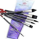 ZenART Watercolor Paint Brushes – Smart 6 pc Black Tulip Short-Handle Watercolor Brush Set for Consistent Flow – Gouache, Watercolors, Fluid Acrylics, Inks - Synthetic Squirrel Hair, Vegan
