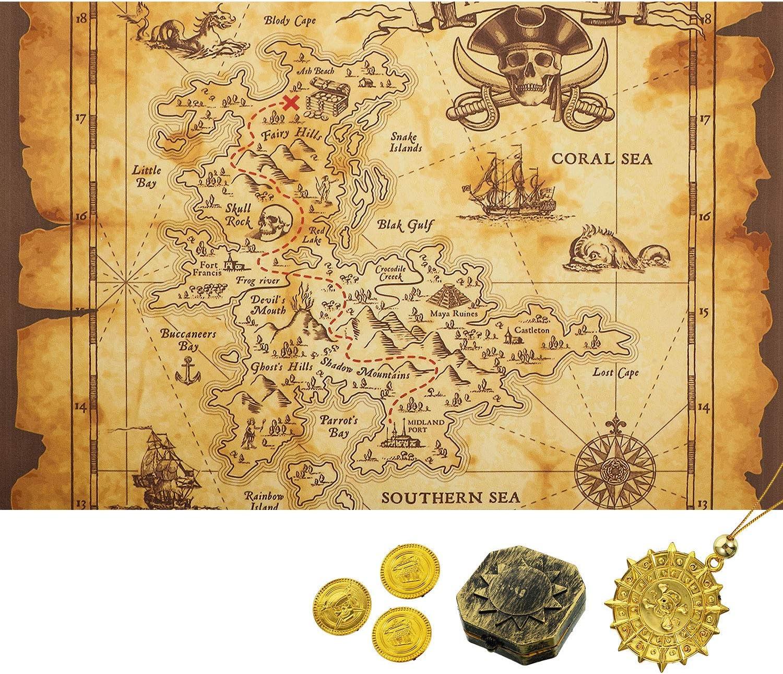 Amazon Com Gejoy Detailed Treasure Map Halloween Brown Beige Home Kitchen