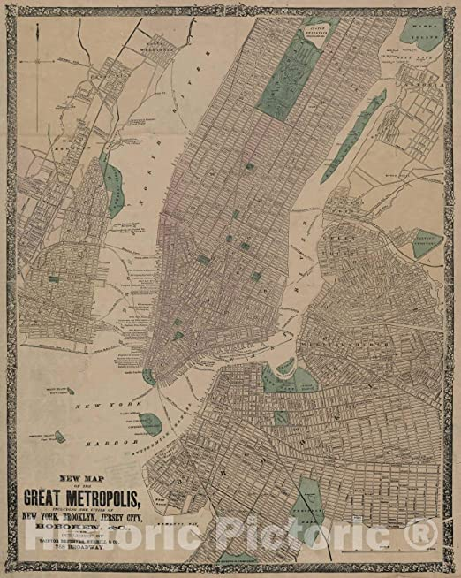 Early Pictorial New York Manhattan Map Subway System Wall Poster Vintage History