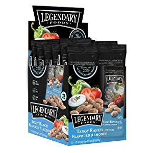 Legendary Foods Tangy Ranch Flavored Almonds | Keto Friendly Low-Carb Snacks | High Protein, Fat, Potassium & More | Ideal Gluten Free Snacks for Post-Workout or Keto Diet (1.25oz, Pack of 12)