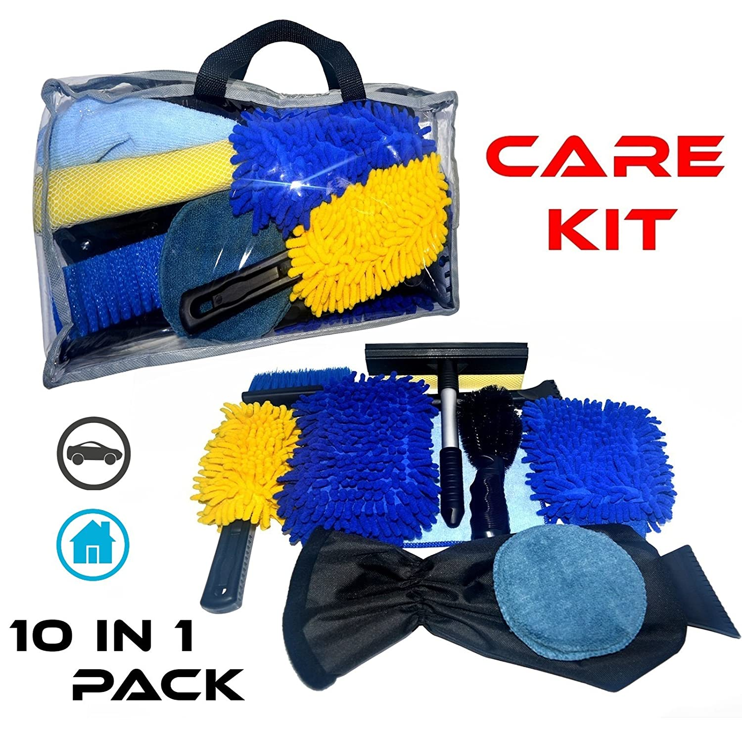 10 Piece Essential Multi-Purpose Car - Home - Office Care & Cleaning Kit (Squeegee, Duster, Brush, Mitt, Scraper, Sponge Tools) Auris Global Ltd. (myAuris.uk)