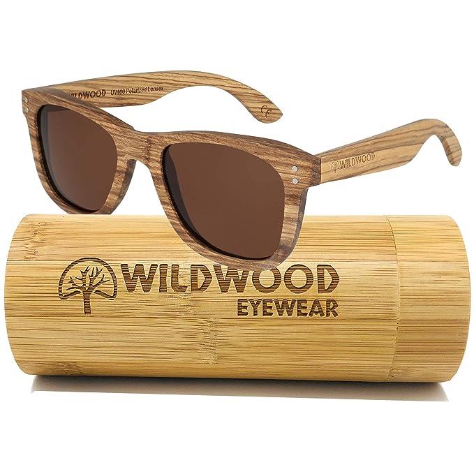 7e53e5edf4a Wildwood Zebra Wood Unisex Wayfarer Polarized Wooden Sunglasses for Men and  Women (Brown)