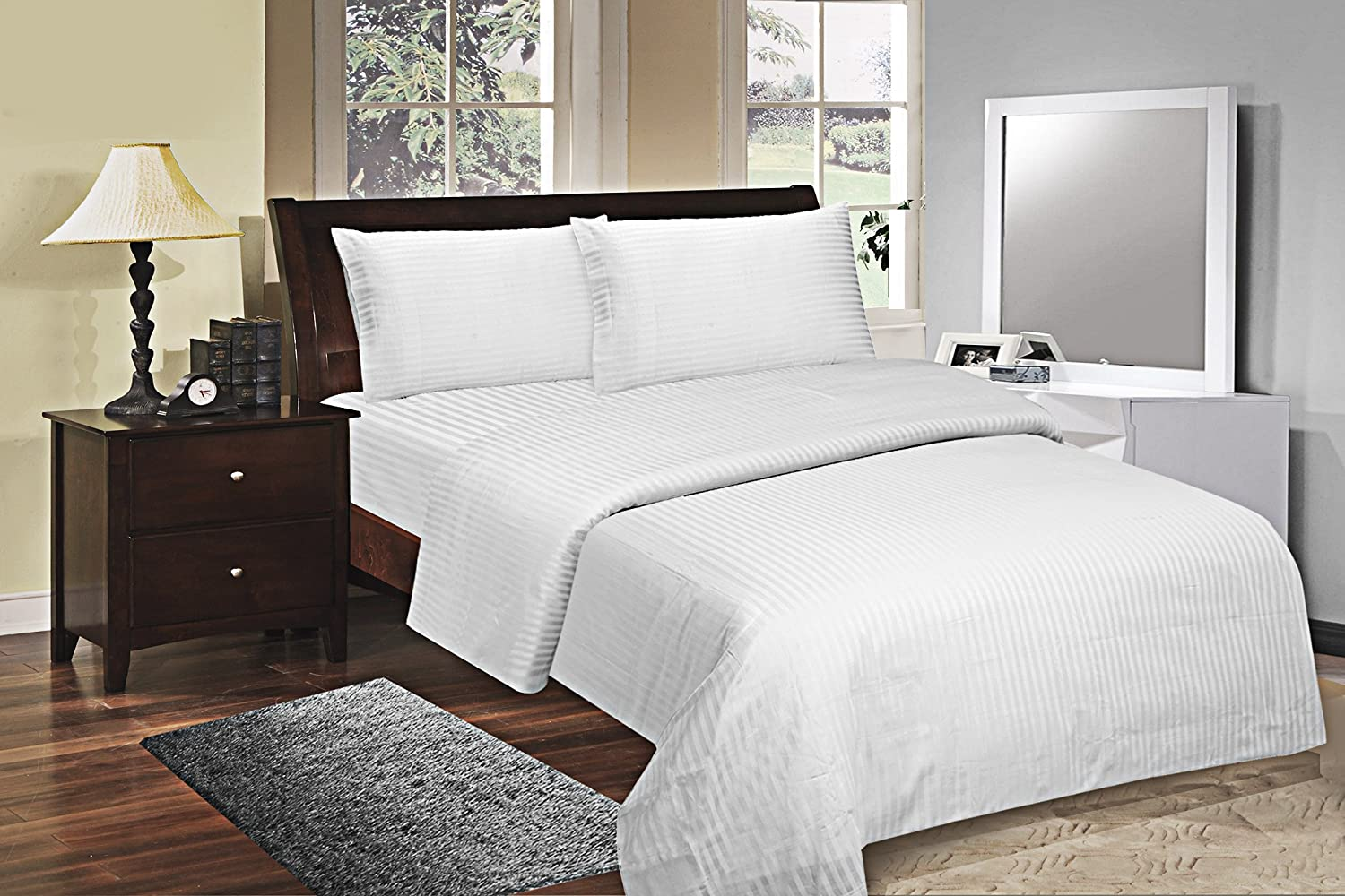 White Bonne Nuit 400 Thread Count Hotel Collection Luxury Bedding Bed Sheets - Bestseller- Super Sale
