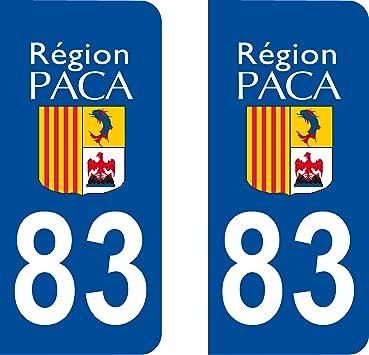 2 pegatinas estilo placa de matrícula del departamento 83 (Francia): Amazon.es: Coche y moto