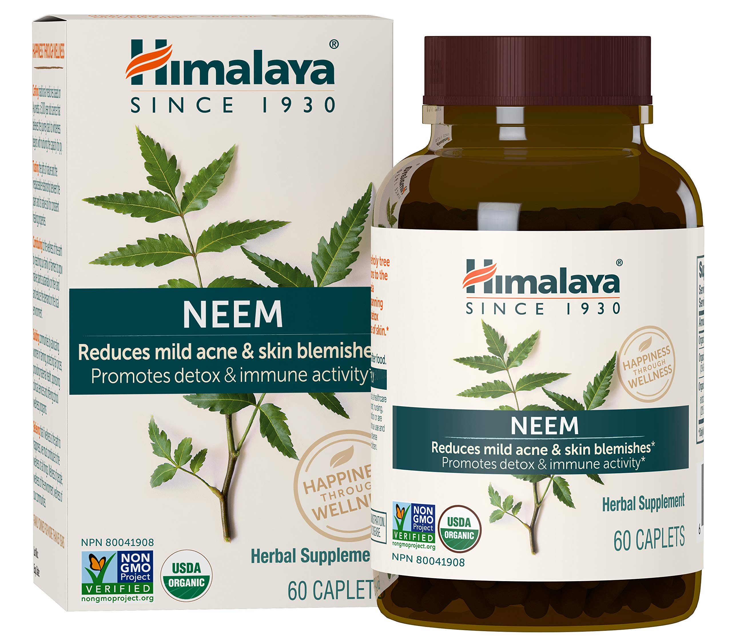 Himalaya Organic Neem 60 Caplets for Mild Acne & Healthy Skin 600mg