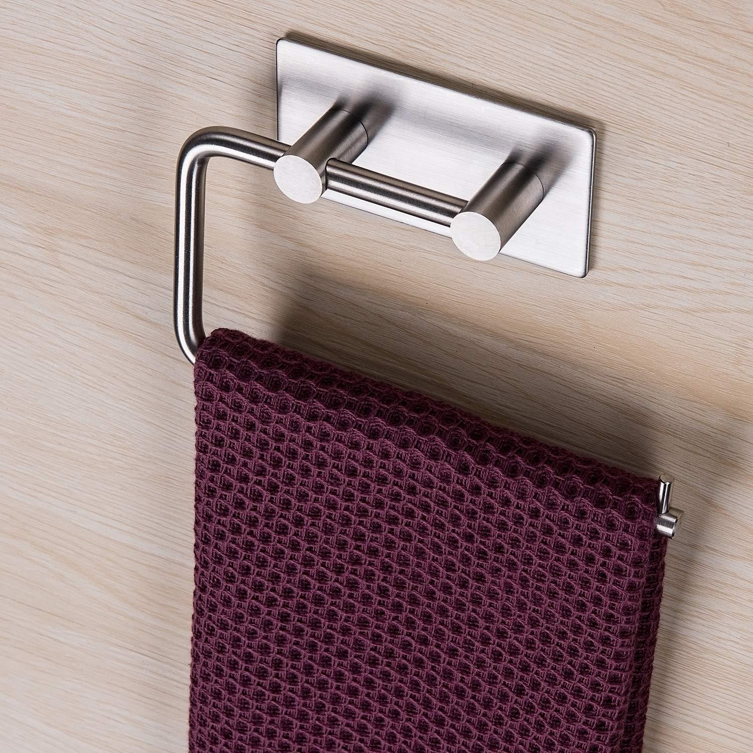 ZUNTO Bathroom Hand Towel Ring - Hand Towel Holder Self Adhesive No Drilling, SUS 304 Stainless Steel Brushed by ZUNTO
