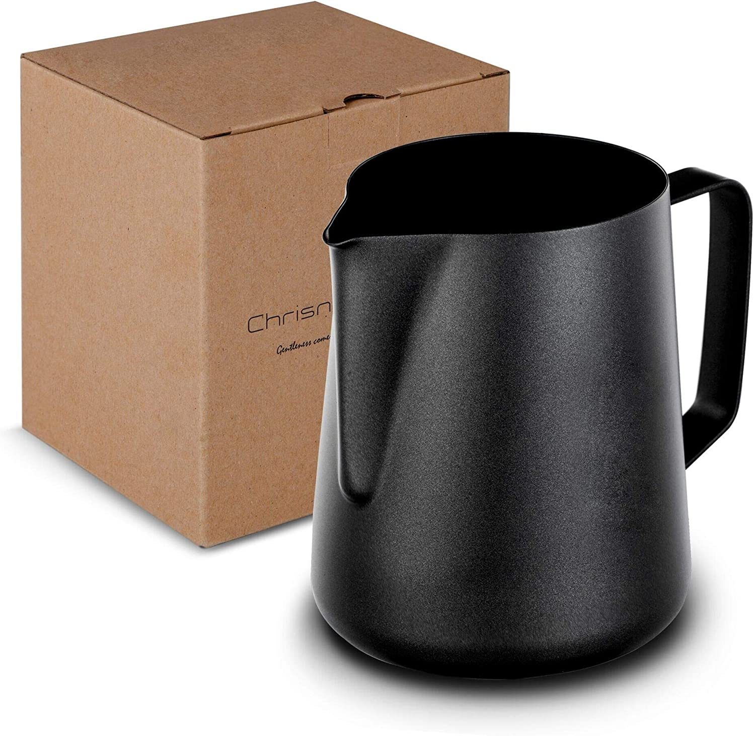 Milk Frothing Pitcher, Stainless Steel Creamer Non-Stick Teflon Frothing Pitcher 20 oz (600 ml), Matte Finish
