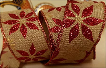 Wired edge Christmas Ribbon with glitter stars dots 63mm x 1Metre cut from roll