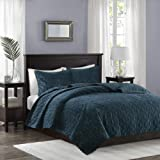 Madison Park Harper 3 Piece Coverlet Faux Velvet Solid Color with Geometric Double Sided Design Modern Luxe Quilt Hypoallerge