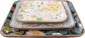 Creative Co-op Square Enameled Acacia Wood Floral & Bee (Set of 3 Sizes/Patterns) Trays, Multicolor