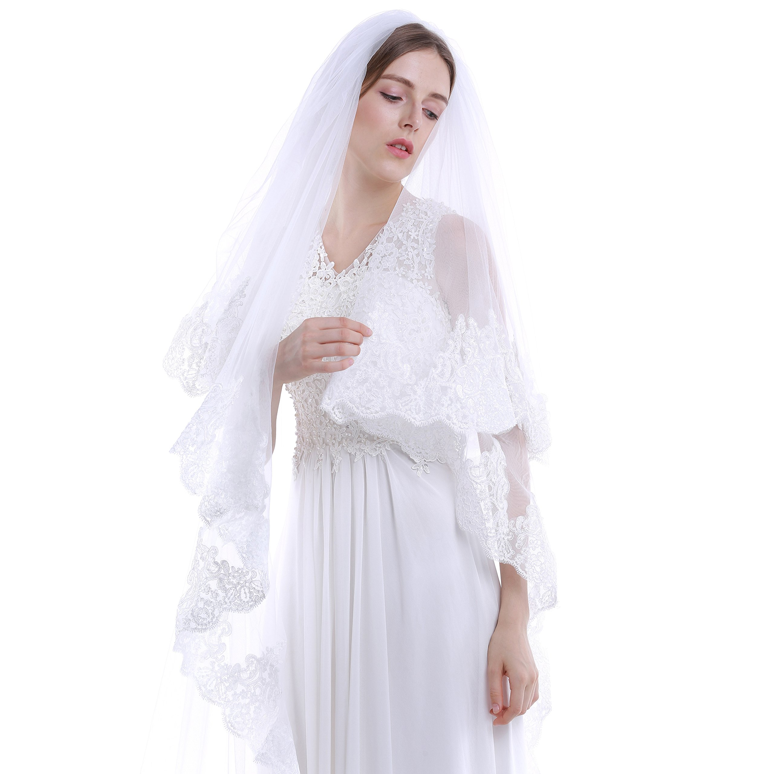 HailieBridal 2 Tiers Lace Edge Chapel Length Wedding Bridal Veil (Off White)